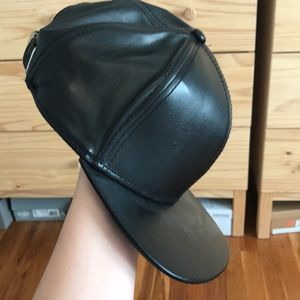 NWOT Faux Leather Adjustable Meow Baseball Hat Cap